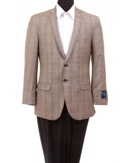Men's 2 Button Notch Lapel Slim Fit Taupe Wool Windowpane Sport Coat Blazer