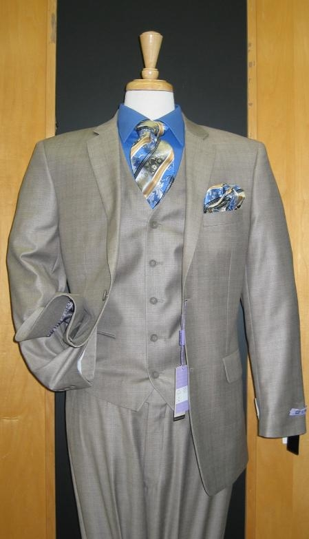 CF411 Two Button Three Piece Taupe Sharkskin Wool