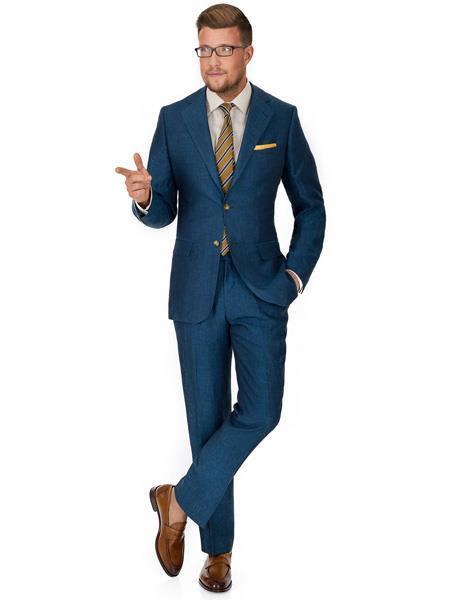 MO569 Mens 2 Button Notch Lapel Teal Blue Linen Suit