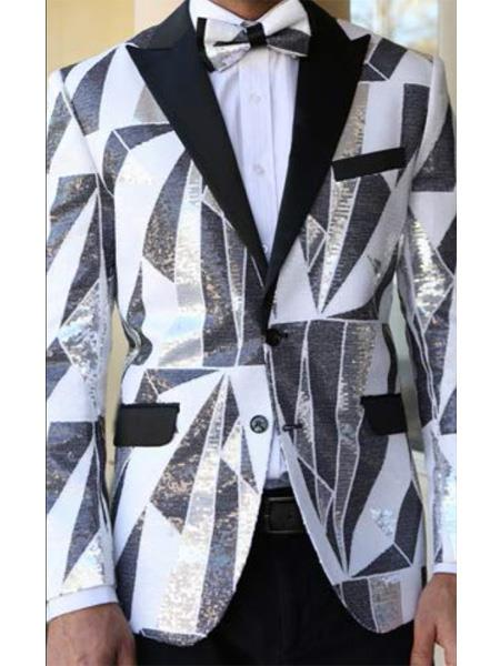 Product# E-136 Mens Fancy Designed Black Peak Lapel White~Black tuxedo dinner jacket Clearance Sale Online