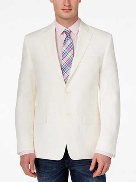 Men's White 2 Button Classic Fit Notch Lapel Solid Linen Sport Coat Blazer
