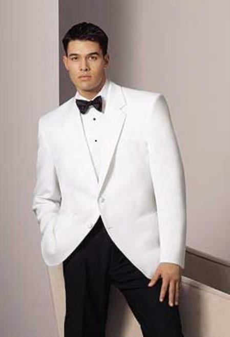 Men's 2 Button Notch Lapel White Dinner Jacket