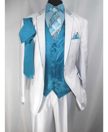 Mens 2 Button White/Turquoise