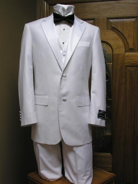 Two Button Notch Lapel Tuxedo jacket,Pant And Vest Combination White Clearance Sale Online