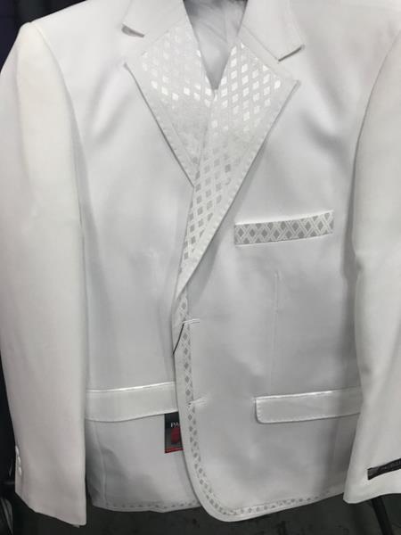 Product# JSM-5339 Mens 2 Button Vested Tuxedo White Tuxedo With Unique Sateen Lapel Jacket & Pants