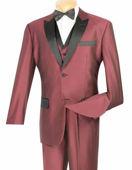 Product# SM1329 Vinci Two Button Shiny Wine Peak Collar 3 Piece 1920s tuxedo style Entertainer Suit
