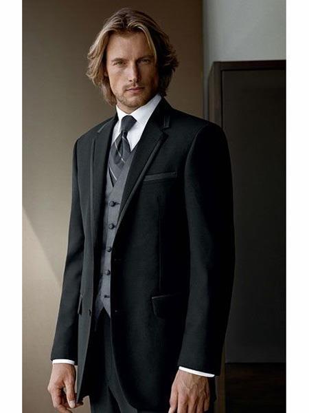 Black Suit Gray Vest 2 Button Wool Black suit with Grey vest 3PC 3 Pieces Vested suit