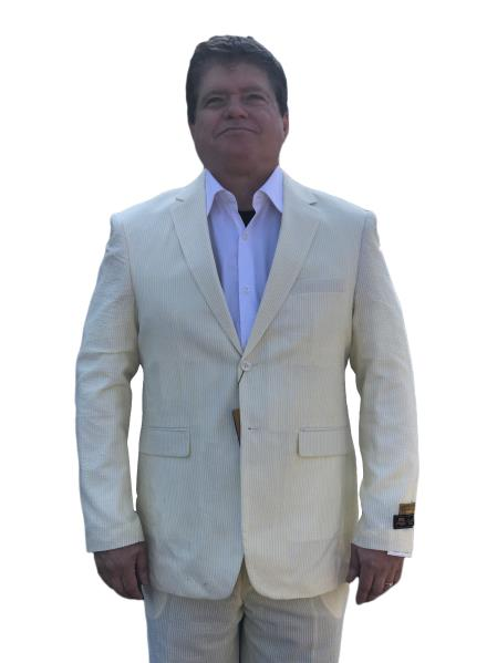 Product# SM4440 Alberto Nardoni Best Mens Italian Suits Brands Yellow ~ Canary Cheap priced Mens Searsucker Seersucker Sale ~ sear sucker Suit 2 button Notch Lapel Flat Front Pants Regular Fit Side Vented / Beach Wedding Attire For Groom