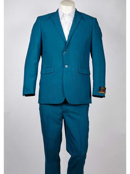 SM946 Men's 2 Button Style Aqua Notch Lapel Single Breasted Summer Suit