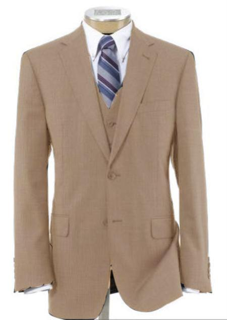 Men's 2 Button Style Wool Fabric Vested Beige Athletic Cut Suits Classic Fit  with Pleated Slacks Trousers