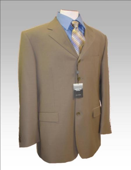 MT33 Dark Tan khaki Color ~ Beige~Coffe~Taupe~Mocca Wool Fabric Blend 3 Button Style Suit