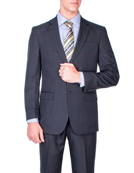 Product# JSM-6424 Mens Two Buttons stripe Authentic Giorgio Fiorelli Brand suits Flat Front Pants