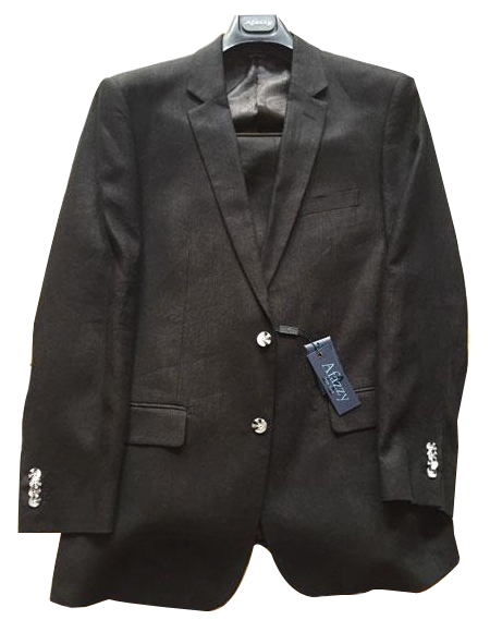 Product# JSM-6342 Mens Black Single Breasted Two Buttons 100% Men's 2 Piece Linen Causal Outfits Modern Fit lined suit  / Beach Wedding Attire For Groom