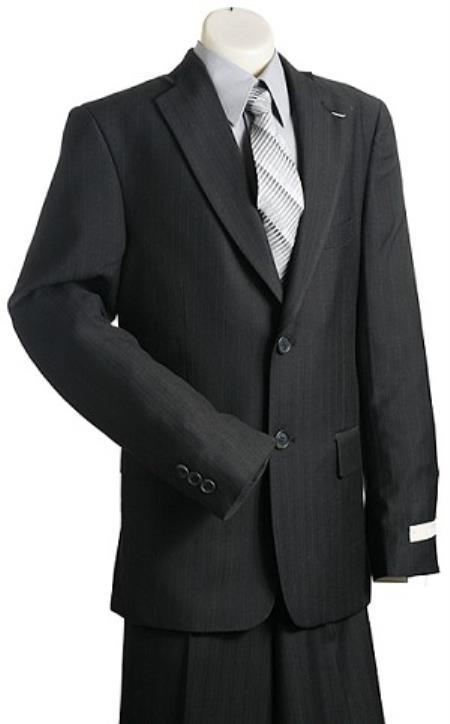 Product# KA9798 Kids Boys 2 Button Style Liquid Jet Black Pinstripe Designer Suits For Teenagers