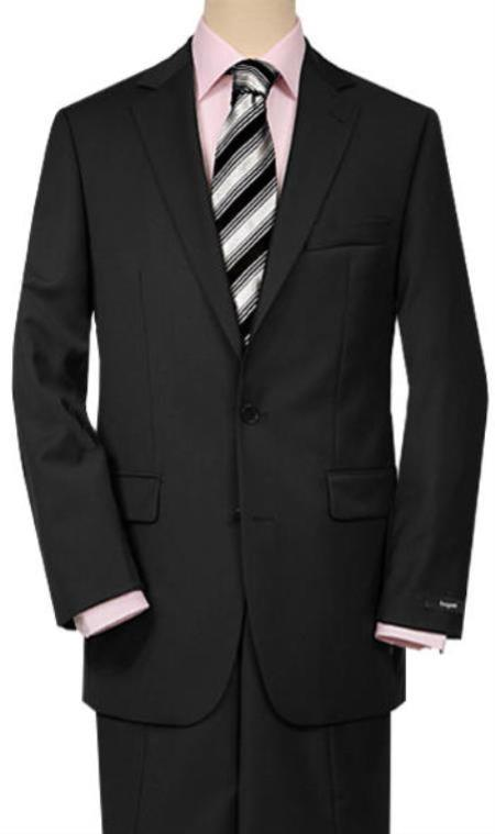 Product# JSM-1005 Men's 2 Buttons Quality Portly Suits Solid Black