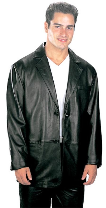 2 Button Style Classic Top Grade New Zealand Lambskin Blazer Online Sale Liquid Jet Black Available in Big and Tall Sizes