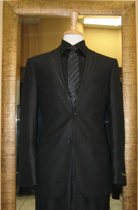 Product# XZ8702 2 Button Style Liquid Jet Black Slim narrow Style Fit Suit with Taping on the Lapels