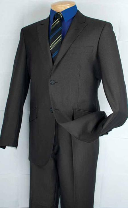 DE9322 Single Breasted 2 Button Style Peak Lapel Suit Liquid Jet Black