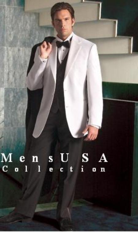 Product# SAM_Tx_02 White Tuxedo jakcet & white pants + Liquid Jet Black Vest + Extra Liquid Jet Black Pants (2 Button Style Jacket)