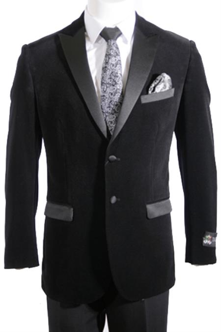 Product# TUX-01 2 Button Style Peak Lapel Mens Velvet Tuxedo Jacket ~ Velour 1920s tuxedo style / Blazer Online Sale with Satin Lapel Side Vent Liquid Jet Black