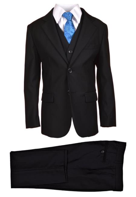 Product# SM4805 Husky Boys Dress Formal Boys And Men Suit Set perfect for wedding Black