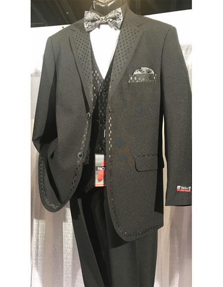 men's Black Two Buttons Vested Tuxedo With Design Lapel & Matching Vest
