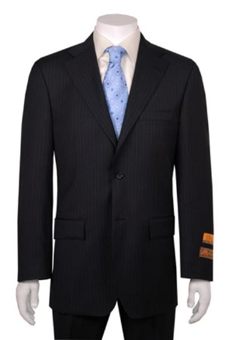 Liquid Jet Black Stripe ~ Pinstripe 2 Button Style Vented Wool Fabric Feel Poly~Rayon cheap discounted Suit without pleat flat front Pants