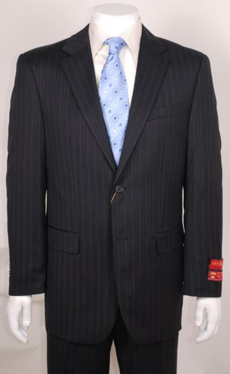 HU337 suit Liquid Jet Black Stripe ~ Pinstripe 2 Buttonwithout pleat flat front Pants Wool Fabric