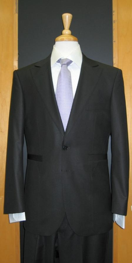 HD944 2 Button Style Liquid Jet Black Silk Blend Custom Flat Front Center Vented Suit