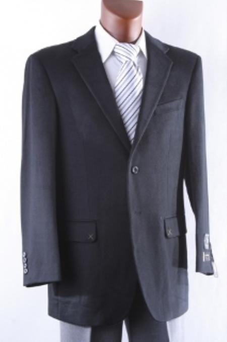 Product# 2SP-J40912C Men's 2 Button Style Lamb Wool Fabric Cashmere Sport Coat Liquid Jet Black