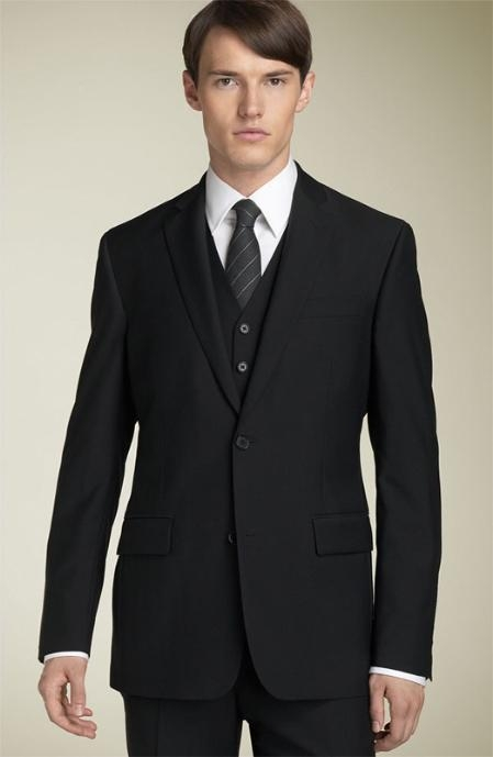 FD9121 3pc 2 Button Style Liquid Jet Black Superior Fabric 150 s Wool Fabric Suit with Hand Pick Stitching on Lapel