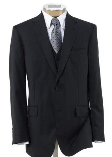 2 Button Style Wool Fabric Vested Athletic Cut Suits Classic Fit  with Pleated Slacks Trousers Liquid Jet Black