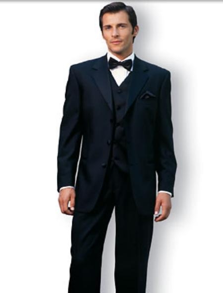 Product# UYY741 Premier Quality Italian Fabric Designer 2 Button Style Liquid Jet Black Vested Tuxedo Superior Fabric 150'S Wool Fabric Jacket + Pants + Shirt + Bow Tie + Vest Package