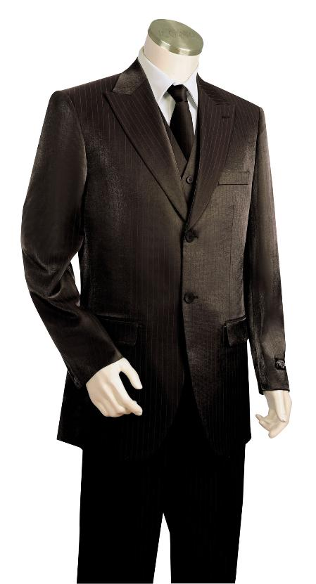 2 Button Style 3 Piece Vested Liquid Jet Black Long length Zoot Suit For sale ~ Pachuco men's Suit Perfect for Wedding