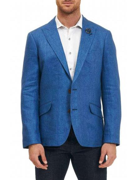 Men's Sportcoat Two Buttons Single Breasted 100% Men's 2 Piece Linen Causal Outfits Blue Classic Fit Blazer / Beach Wedding Attire For Groom