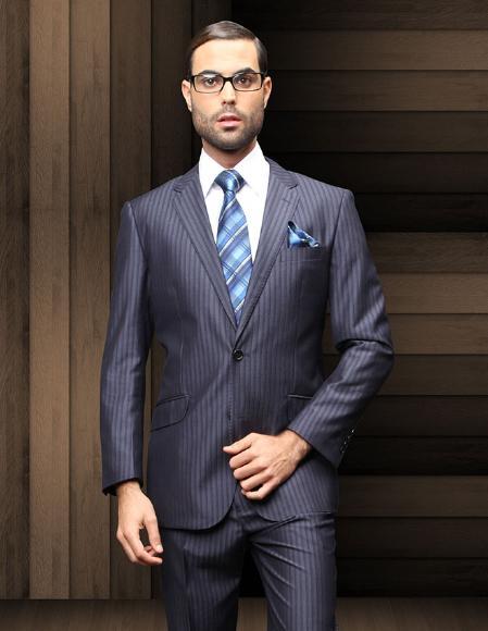 TZ_Ber Pick Stitch Collar Slanted Pocket 2 Btn Navy Blue Shade Shadow Stripe ~ Pinstripe Suit