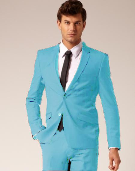 Product# SKB943 2 Button Style Wool Fabric & Cotton Suit Flat Front Pants Light Blue ~ Sky Blue