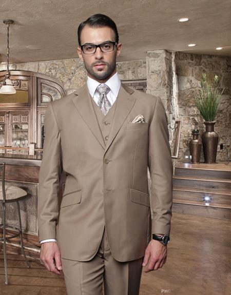 Classic 3PC 2 Button Style Bronze Suit Superior Fabric 150's Pick Stitched lapel Italian Fabric