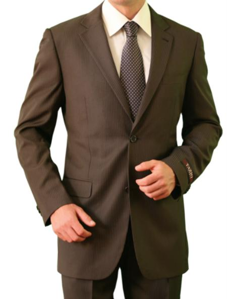 2 Button Style Front Closure Slim narrow Style Notch Lapel brown color shade Suit