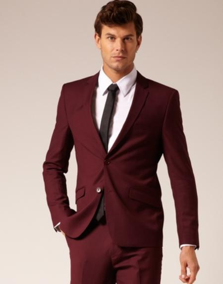 Product# VT6740 2 Button Style Burgundy Suit ~ Maroon ~ Wine Color flat front pants