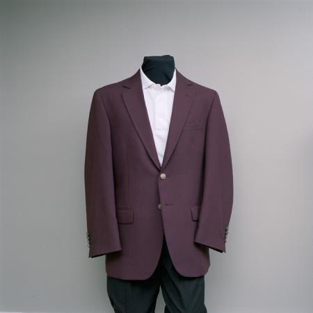 2 Button Style Blazer Online Sale Burgundy ~ Maroon ~ Wine Color with brass buttons sportcoat
