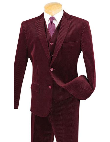 Mens Two Buttons Burgundy