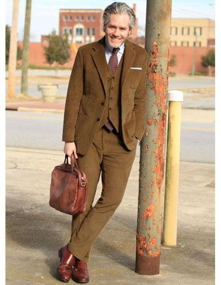 Mens 2 Buttons Single Breasted Camel Thick Corduroy Suit Flat Front Pant