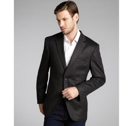 Slim narrow Style Fit Wool Fabric & Cashmere Blend 2 Button Style Blazer Online Sale Rich Dark Grey Masculine color
