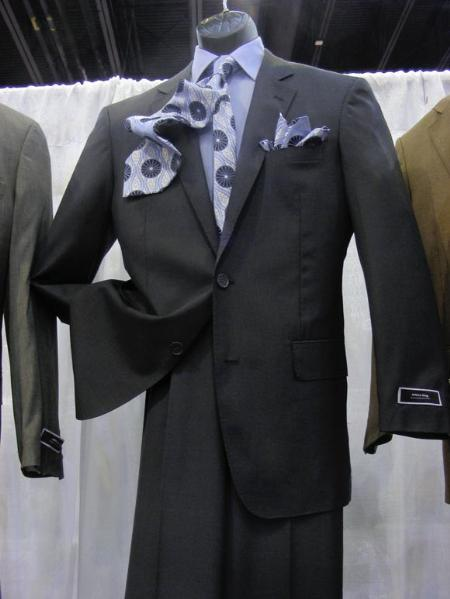 Product# AM26 2 PC 2 Button Style Suit Luxurious Poly Rayon Dark Grey Masculine color Suit