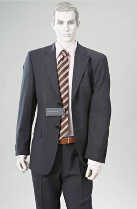 Double Vent Cahrcoal Gray Superior Fabric Wool Fabric 2 Button Style Suit