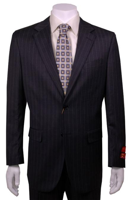 Dark Grey Masculine color Stripe ~ Pinstripe 2 Button Style Vented Wool Fabric without pleat flat front Pants