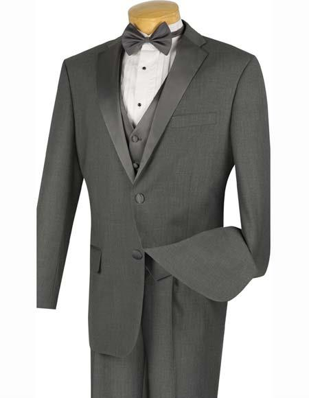 Grey Tuxedo - Gray Tuxedo Men's 2 Buttons Charcoal Grey ~ Gray 4pc Tuxedo With Vest Suit And Bow Tie Pleated Pants