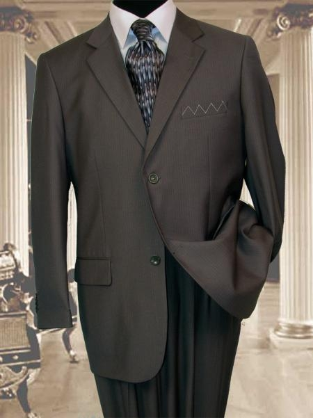 Two Buttons Black Wool Suit