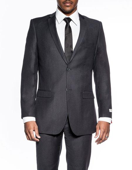 Two Buttons Charcoal Wedding Suit